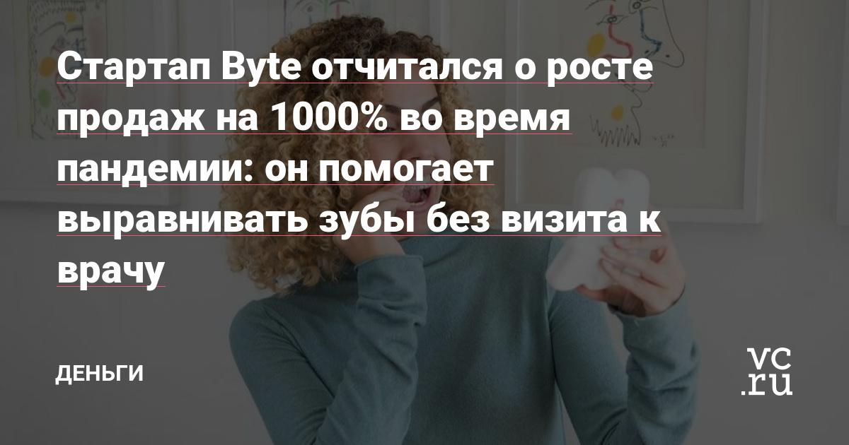 Стартап Byte отчитался о росте продаж на 1000% во время пандемии: он помогает выравнивать зубы без визита к врачу