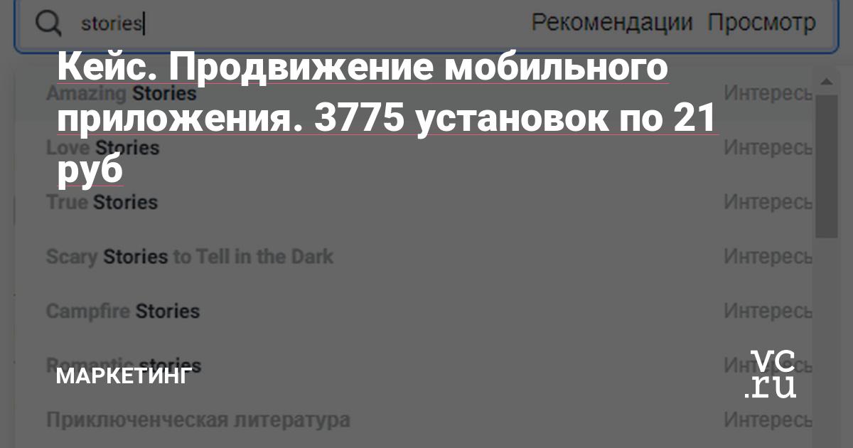 Кейс. Продвижение мобильного приложения. 3775 установок по 21 руб