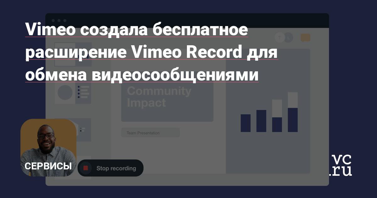 Vimeo создала бесплатное расширение Vimeo Record для обмена видеосообщениями