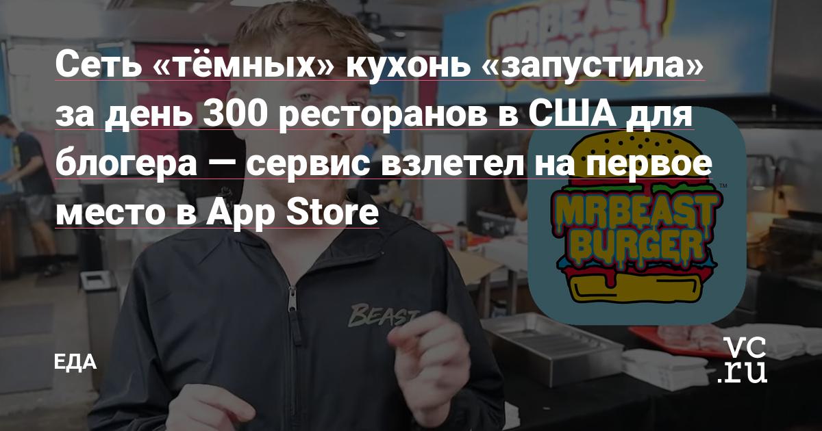 Сеть «тёмных» кухонь «запустила» за день 300 ресторанов в США для блогера — сервис взлетел на первое место в App Store