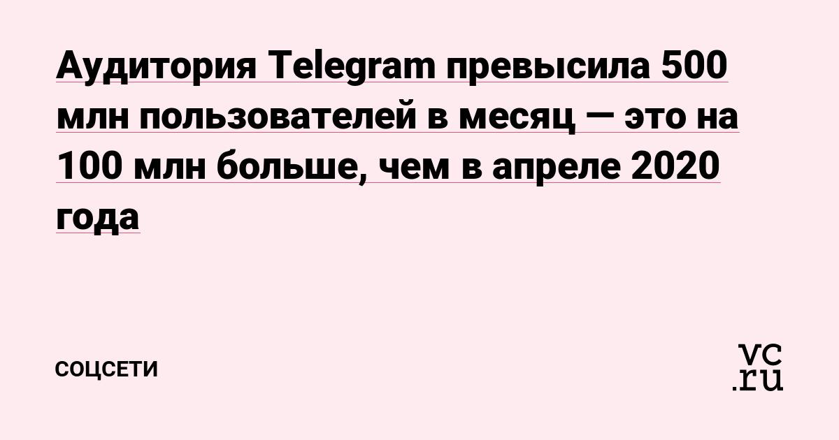 Аудитория Telegram превысила 500 млн пользователей в месяц — это на 100 млн больше, чем в апреле 2020 года