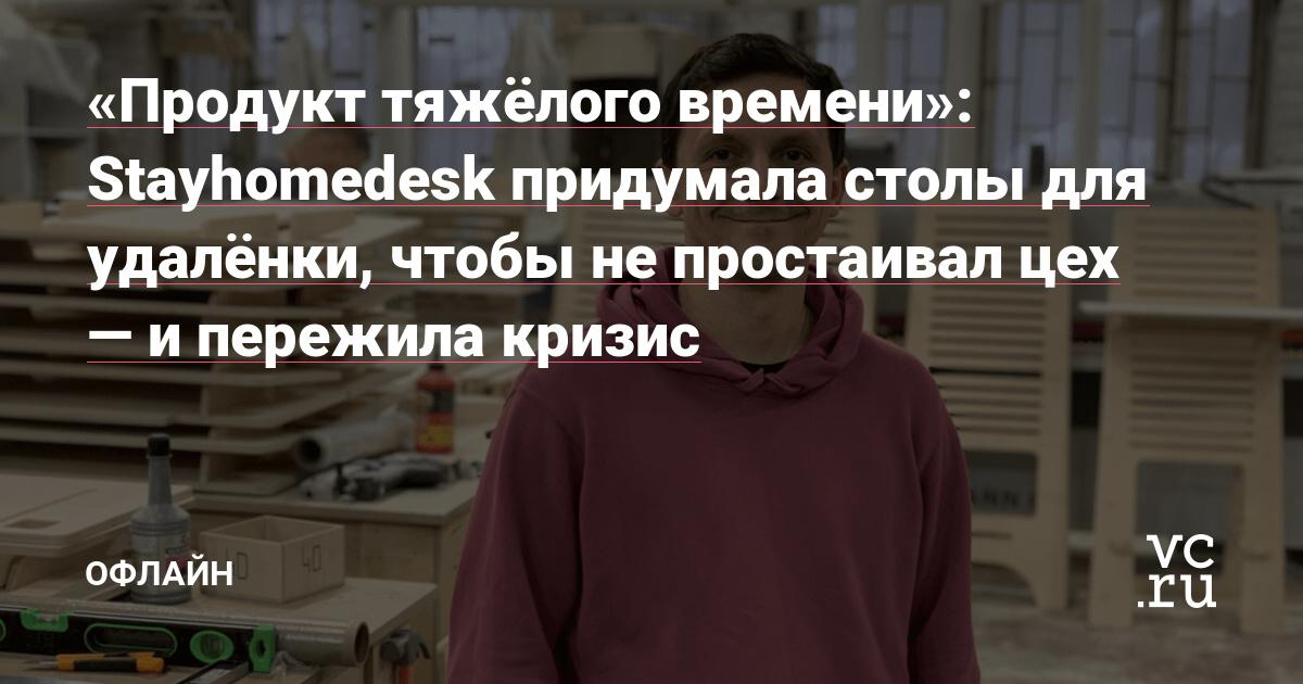 «Продукт тяжёлого времени»: Stayhome Desk придумала столы для удалёнки, чтобы не простаивал цех — и пережила кризис