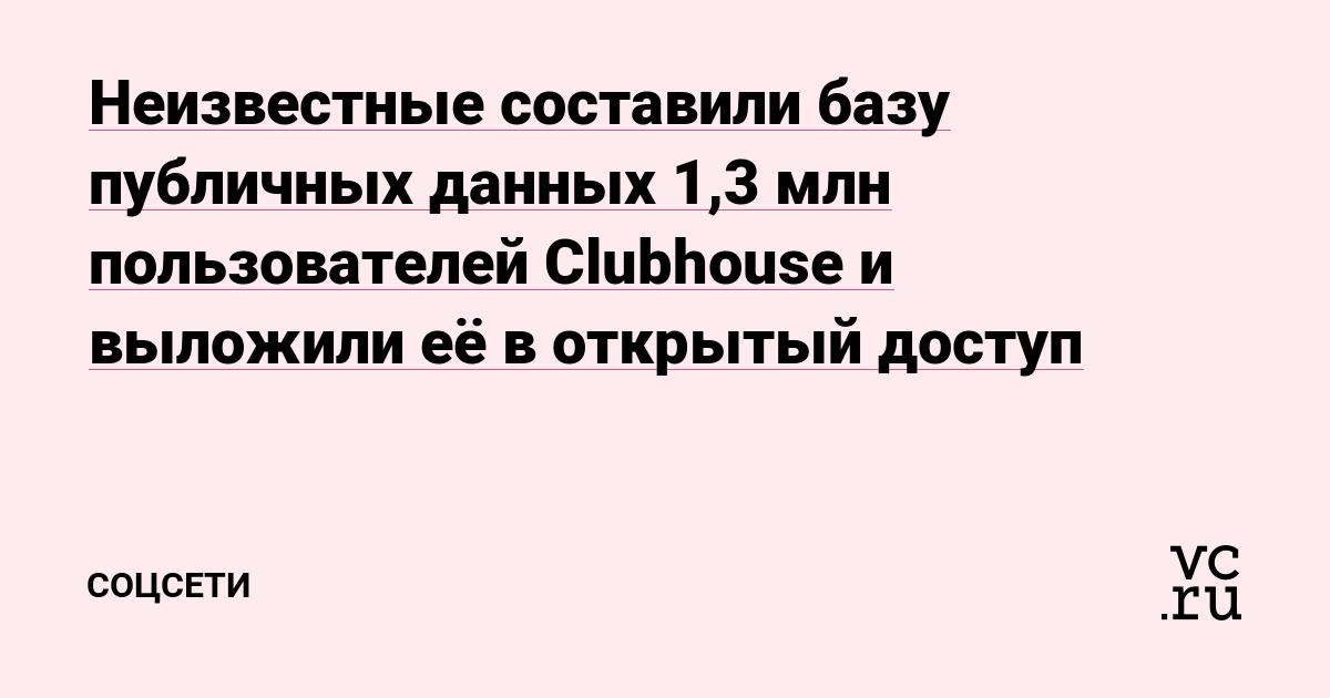 Неизвестные составили базу публичных данных 1,3 млн пользователей Clubhouse и выложили её в открытый доступ
