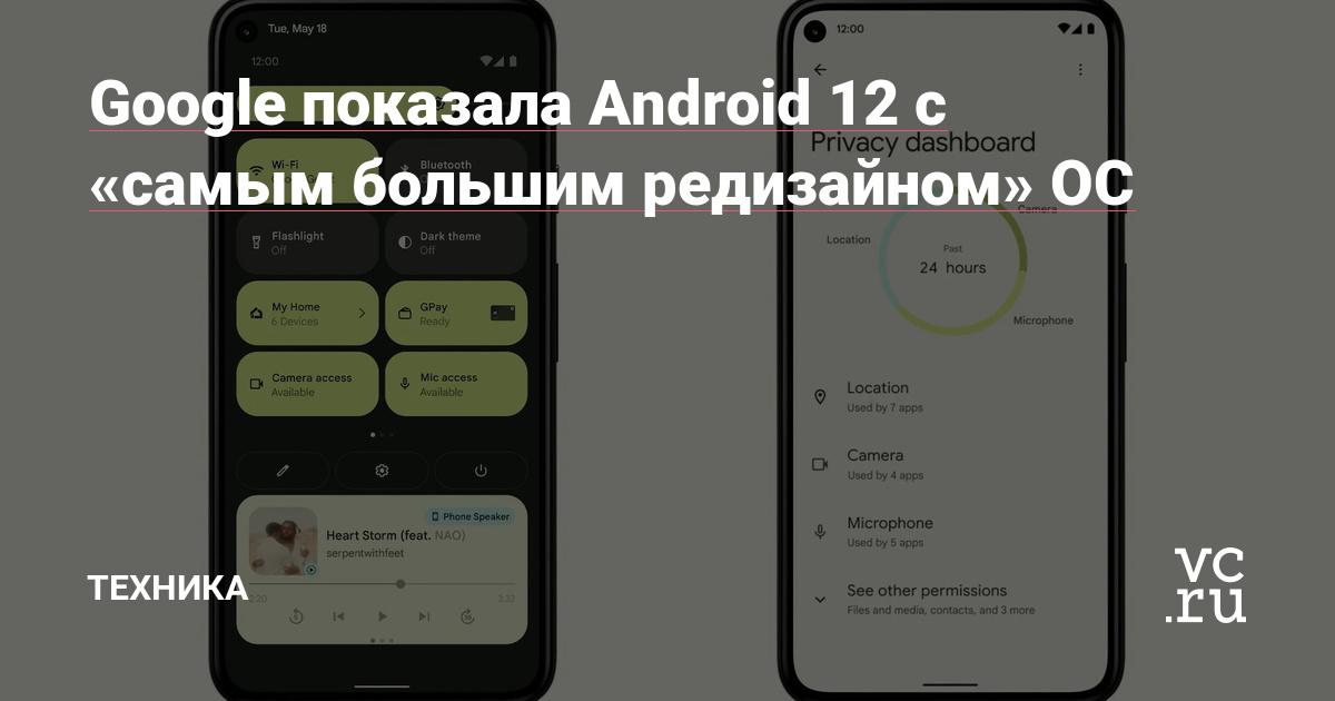 Google показала Android 12 с «самым большим редизайном» ОС