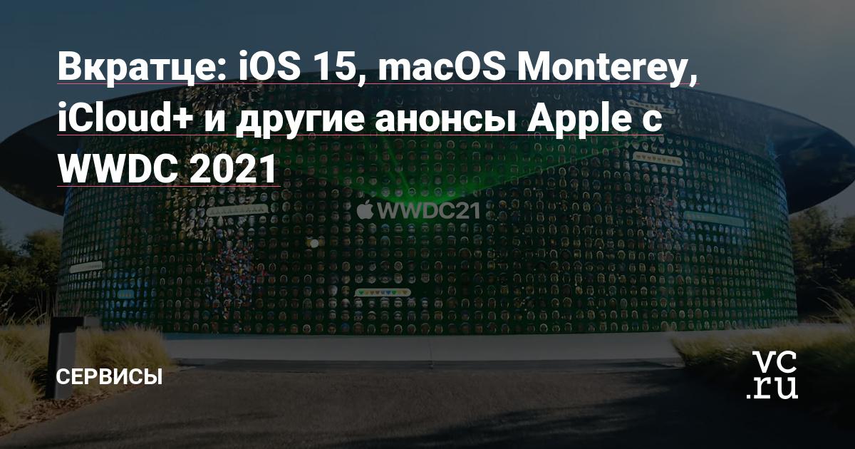 Вкратце: iOS 15, macOS Monterey, iCloud+ и другие анонсы Apple с WWDC 2021