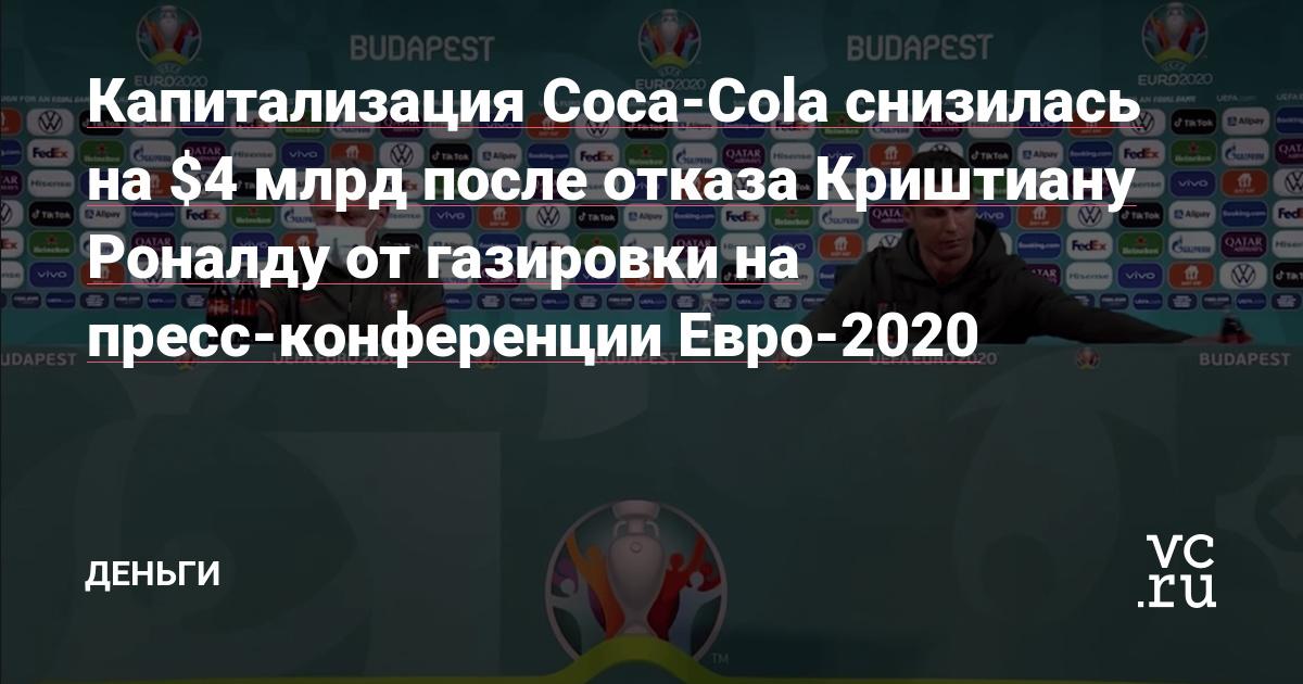 Капитализация Coca-Cola снизилась на $4 млрд после отказа Криштиану Роналду от газировки на пресс-конференции Евро-2020