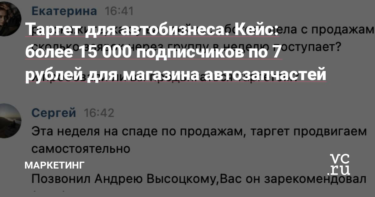 Таргет для автобизнеса. Кейс: более 15 000 подписчиков по 7 рублей для магазина автозапчастей