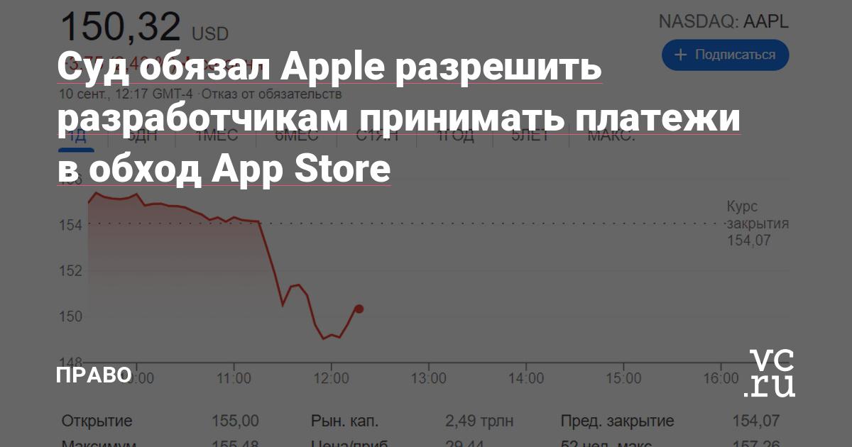 Суд обязал Apple разрешить разработчикам принимать платежи в обход App Store