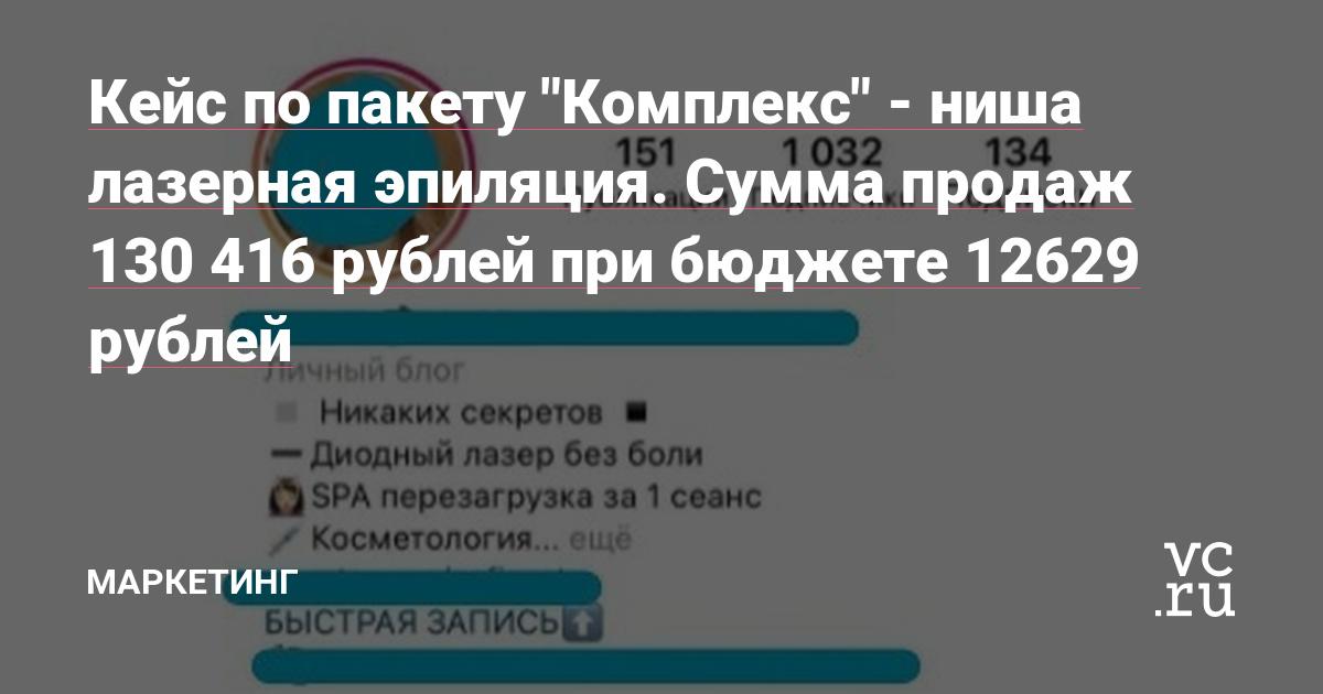 """Кейс по пакету """"Комплекс"""" - ниша лазерная эпиляция. Сумма продаж 130 416 рублей при бюджете 12629 рублей"""