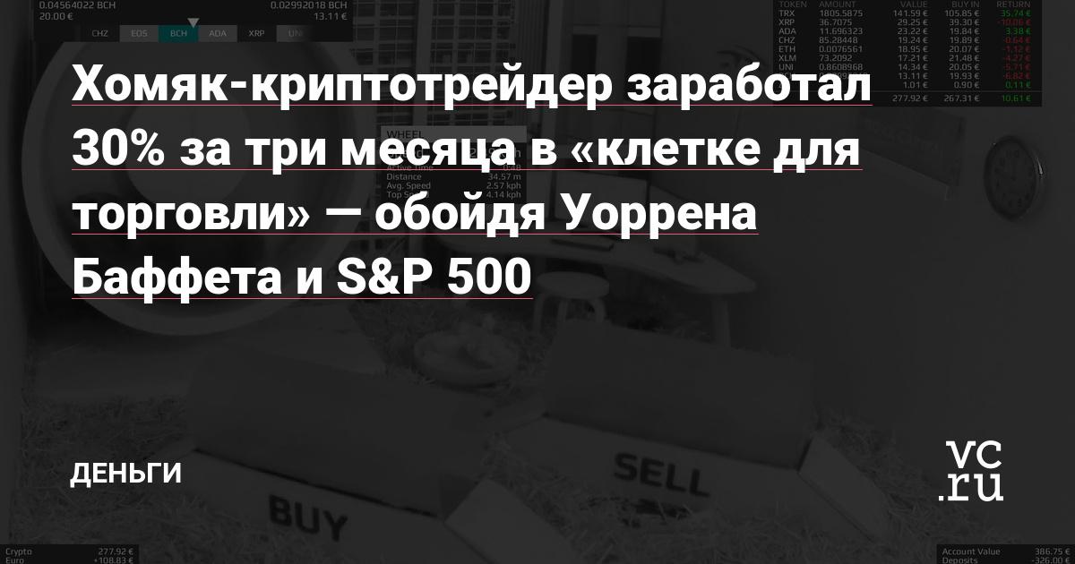 Хомяк-криптотрейдер заработал 30% за три месяца в «клетке для торговли» — обойдя Уоррена Баффета и S&P 500